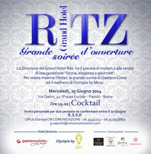 Invito_inaugurazione Grand Hotel Ritz Roma by Orange